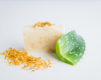 Calendula and Aloe Handcrafted Soap - Natural Soap - Unscented Soap - Vegan Skincare - Fragrance free