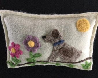 Pine pillow. Dog with flowers. Hand needle felted pine filled pillow. Maine balsam pillow sachet
