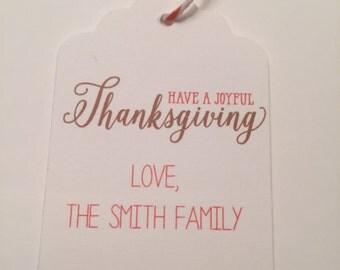 Set of 6 Joyful Thanksgiving Personalized Thanksgiving Fall  Gift Tags Favor Tags-Ships in 3-5 days!