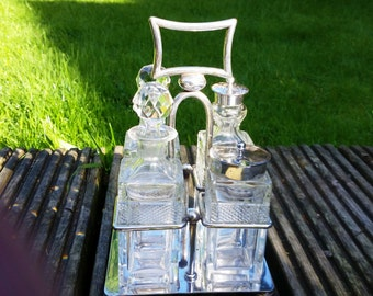 Vintage Silverplated Art Deco Crystal Glass Cruet Set on Siverplated Tray made In England