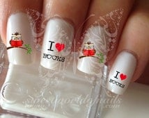 I Love Books Reading Owl Nail Water Decals Transfers Wraps