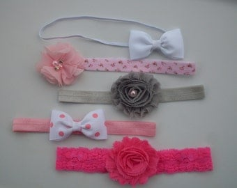 Baby Headbands and Bows, 5 Baby Headbands, Baby Lace Headband,Newborn Headband, Flower Headbands, Baby Girl Headband Set, Newborn Headbands.