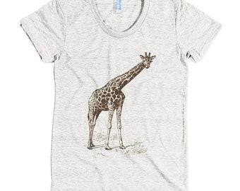 TOP SALE! Giraffe - American Apparel Tri-Blend Short Sleeve Women's Track T - Made in USA