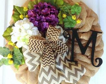 Burlap Wreath, Spring wreath, Summer wreath, Chevron ribbon, Hydrangea wreath, Country wreath, Front door wreath, Monogram initial wreath