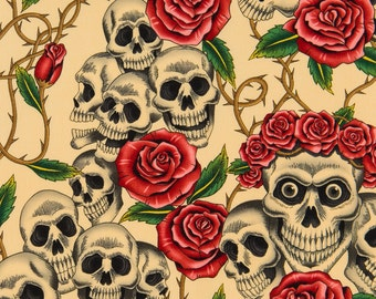 Alexander Henry Skull Fabric - The Rose Tattoo (Skulls and Roses) 6457A in Tea - One Yard