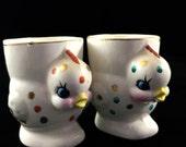 SALE Retro/Vintage 1950s - 50s - polka dot chicken kitsch egg cups mid century