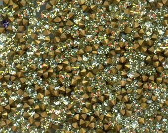 451114*** 60 vintage rhinestones point back 2,1mm  jonquil