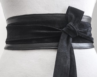 Black Suede Belt | Black Suede Obi Belt | Waist Belt | Sash Tie Belt | Womens Leather Belt| Handmade Belt | Plus size belts