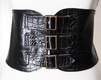 Black Croc Corset Belt | Leather Corset Buckle Belt | Black Wide Waist Belt | Corset Wide Belt | Leather Buckle Belt | Plus Size Accessory