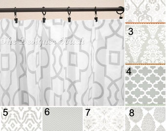 """Grey Curtains.French Grey Curtains.Grey Drapery.Chevron Curtain Panels.Damask Curtains.Morrocan Curtains. 63"""" 84"""" 96"""" Any Size"""