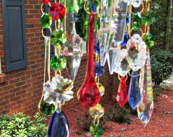 Colorful Crystal Wind Chime, Crystal Sun Catcher, Home décor, Garden Décor, Garden Bling, Glass Wind Chime, Patio Decor, Crystal Gift, WC133