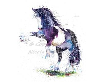A3  Horse  watercolour equine art print by nicola jane rowles  Horse ART PRINT