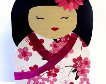 Japanese Lady in Kimono Card