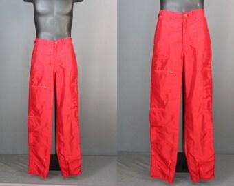 Parachute Pants.....80's Red Nylon Zippered Parachute Pants