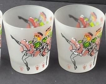 Set of 4 Vintage Frosted Rocks or Bar Glasses with Can Can or Dancing Girls