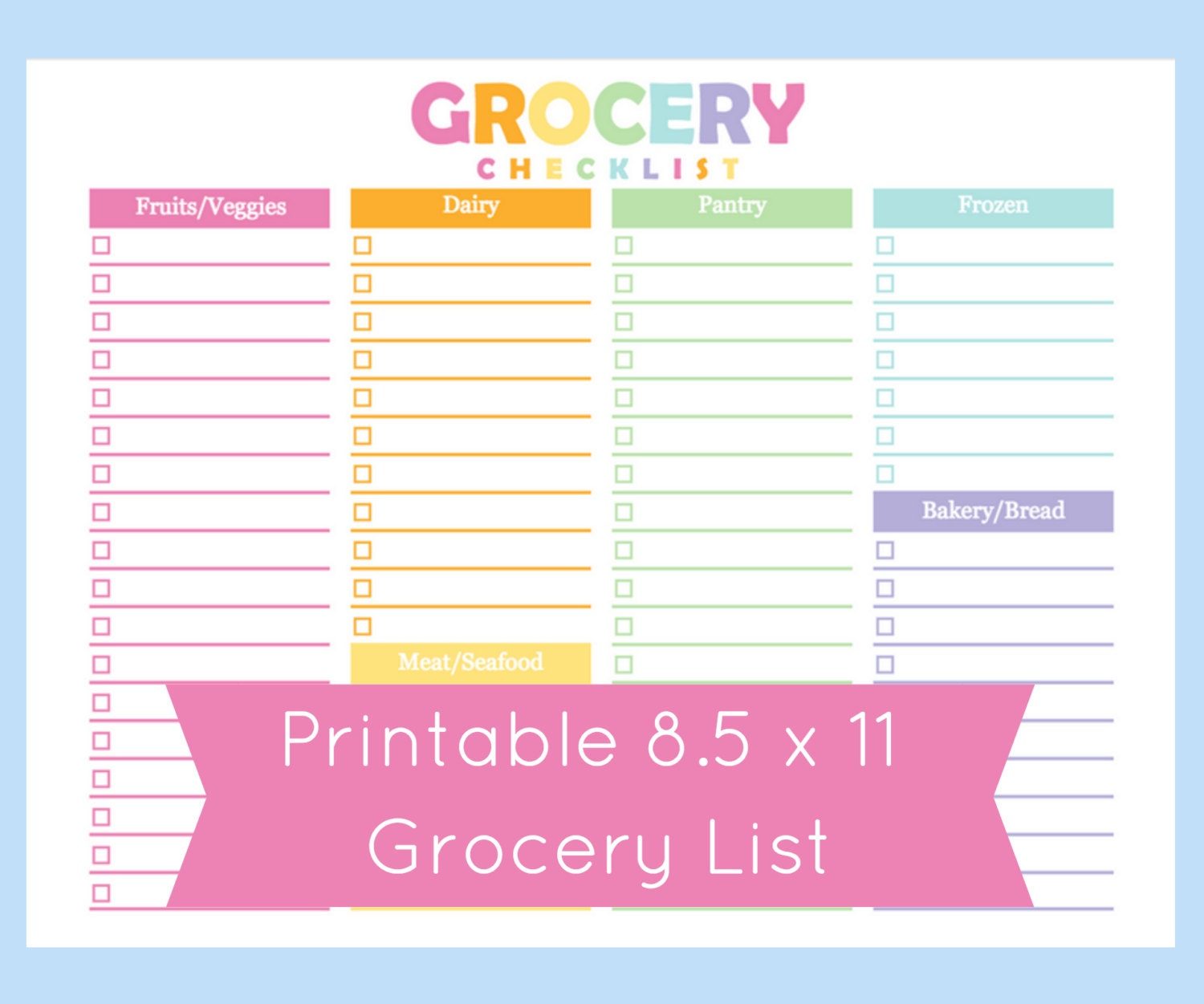 🔎zoom  Grocery List Organizer Template