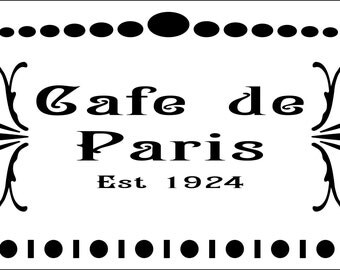 Shabby Chic Stencil French Cafe de Paris - Stencil in Reusable Mylar For Signs, Furniture Fabric  A5 5.8 x 8.3 in  and  A4 8.3 x 11.7 in
