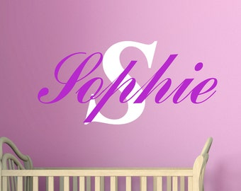 Childs name monogram wall vinyl sticker decal any colour multiple sizes 7 year wall vinyl custom name custom design