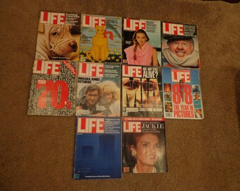 10 LIFE Magazines, Vintage 1980s and 1970s Life Magazines, Jackie Kennedy, Life 1988, Indiana Jones Returns, 1970s Ligerie, Mickey Rooney,17