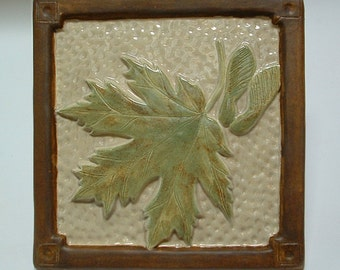 """6"""" Maple Leaf Tile for fireplace and kitchen/with taupe/green glaze, Craftsman/Mission/Bungalow/Arts and Crafts/Woodland"""