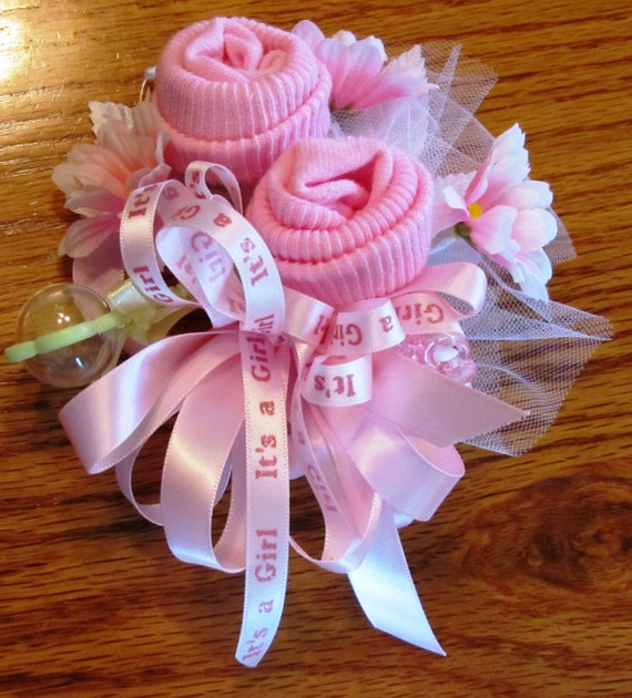 Baby Sock Corsage Handmade Baby Sock Shower Corsage By