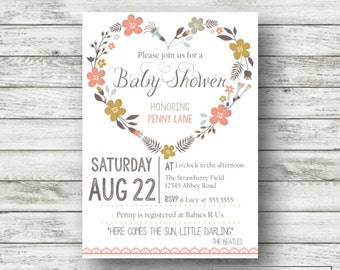 Printable Floral Heart Baby Shower Invitation