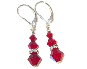 SIAM RED Crystal Earrings Sterling Silver Dangle Swarovski Elements - Clip-on or Pierced