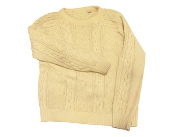 Wool Cable Knit Sweater Ivory Small/Medium