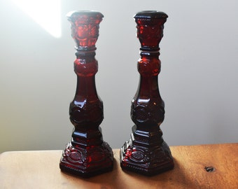 Vintage Avon '1876 Cape Cod' Ruby Red Candleholders, with removable tops; circa 1974
