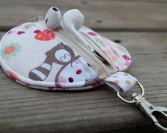 Ear bud Case - Earbud Holder - Earbud Pouch - Coin Purse - Zipper Pouch - Flowers - Raccoon - For Kids - Party Favor