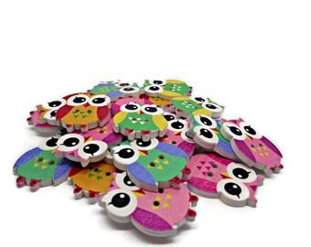 Owl buttons, bird buttons, childrens buttons, sewing supplies, craft buttons, cardmaking supplies scrapbook supplies, uk button supplies
