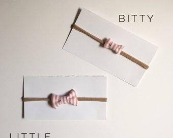 Pink + White Stripe Bow Headband (single)