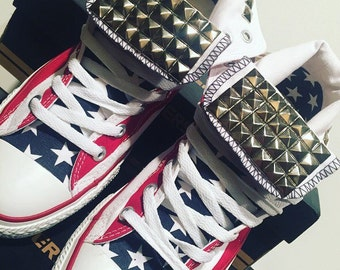 4th of July Custom Converse High Tops Shoes! Chucks Studded Stars & Stripes Freedom Edition - American Flag Studded Converse High Tops