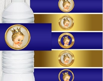 Royal Blue and Gold Prince Water Bottle Labels Blonde