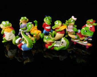 Vintage Toys, Collectible, Krokodil with skater, frisbee, laptop chips, Crazy Crocos 1993, Complete Series Vintage KINDER Surprise Figurines