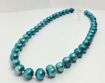 Teal Freshwater Pearl Necklace in 925 Sterling Silver Cultured Pearl Necklace Teal Beaded Jewellery Green Pearl Jewelry Unique Gift for Her