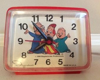 Rare!!! Alvin and The Chipmunks Red Alarm Clock, Bagdasarian.