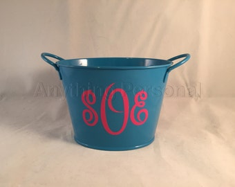 Monogrammed Metal Bucket, Personalized Gift, Monogrammed Bucket, Personalized Metal Bucket, Small Bucket, Metal Bucket, Tin Bucket, Bucket