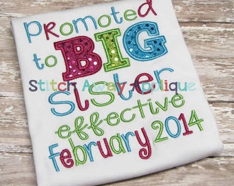 Promoted to Big Sister bodysuit or toddler shirt