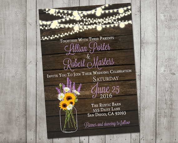 Cheap Sunflower Wedding Invitations: Wedding Invitation Rustic Sunflower Lavender Mason By