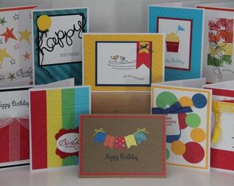 10 Happy Birthday Cards. Handmade Birthday Cards. Assortment Set of 10 Birthday Cards. Birthday Greeting Cards. Primary Color Birthday Cards
