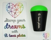 Jumbo stamper (black matte metal + colorful refill) with B. Loves Plates HEART + rainbow scraper for stamping plates (B. Loves Plates)