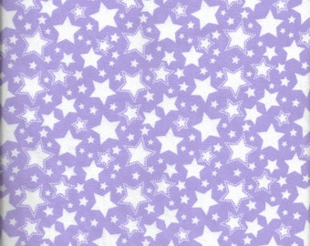 New Starry Nights Purple with White Stars 100% cotton flannel fabric by the yard and half-yard