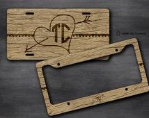 Rough Wood, Wood Pattern, Vanity Car Tag, Bike Tag, License Plate Frame - monogrammed license plate, Wedding Car Accessory, Valentines, 16