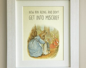 "FRAMED Beatrix Potter Peter Rabbit Quote Print, New Baby/Birth, Nursery Picture, 3 Frame Options, Lovely Birth/Christening Gift, 10""x8"""
