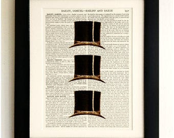 FRAMED ART PRINT on old antique book page - Set of 3 Hats, Vintage Wall Art Print Encyclopaedia Dictionary Page