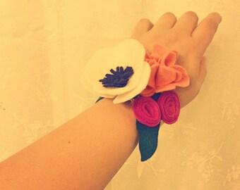 Wedding Wrist Corsage Felt Flowers