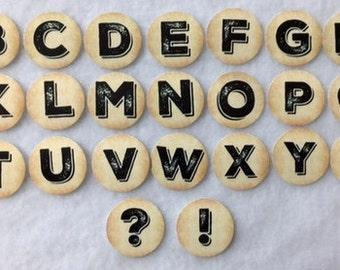 Set Of 50/100/150/200 Pre Cut Alphabet 1 Inch Bottle Cap Circles
