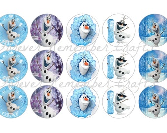INSTANT DOWNLOAD Olaf 1 Inch Bottle Cap Image Sheets *Digital Image* 4x6 Sheet With 15 Images