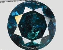 "1.75cts 7.4mm Aqua Blue Natural Loose Diamond ""SEE VIDEO"""